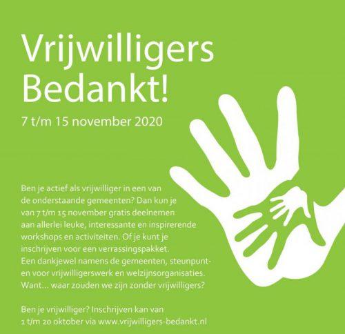 1 oktober: start inschrijving Vrijwilligers Bedankt!